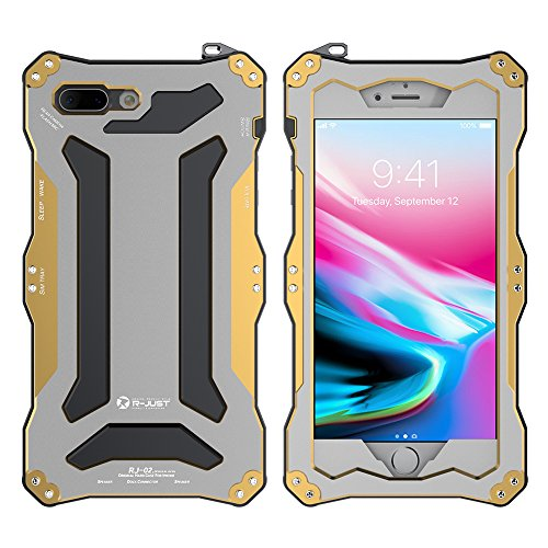 Feitenn iPhone 8 plus Metal Shockproof case Hybrid Armor Alloy Aluminum Metal Bumper case Double Silicone Gorilla glass Sturdy Hard Metallic Military Heavy Duty Case for iPhone 8 plus (Gold)