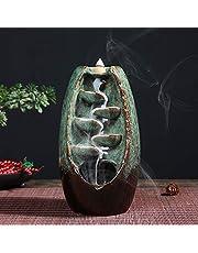 Tongyundacheng Backflow rökelsehållare, rökelse vattenfallsbrännare rökelsebrännare hållare aromaterapi ornament hemdekor retro stil, för hemmakontor (inte rökelseglingsskikt)