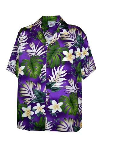 Pacific Legend Mens Frangipani Monstera Fern Shirt in Purple - - Coconut Purple Water