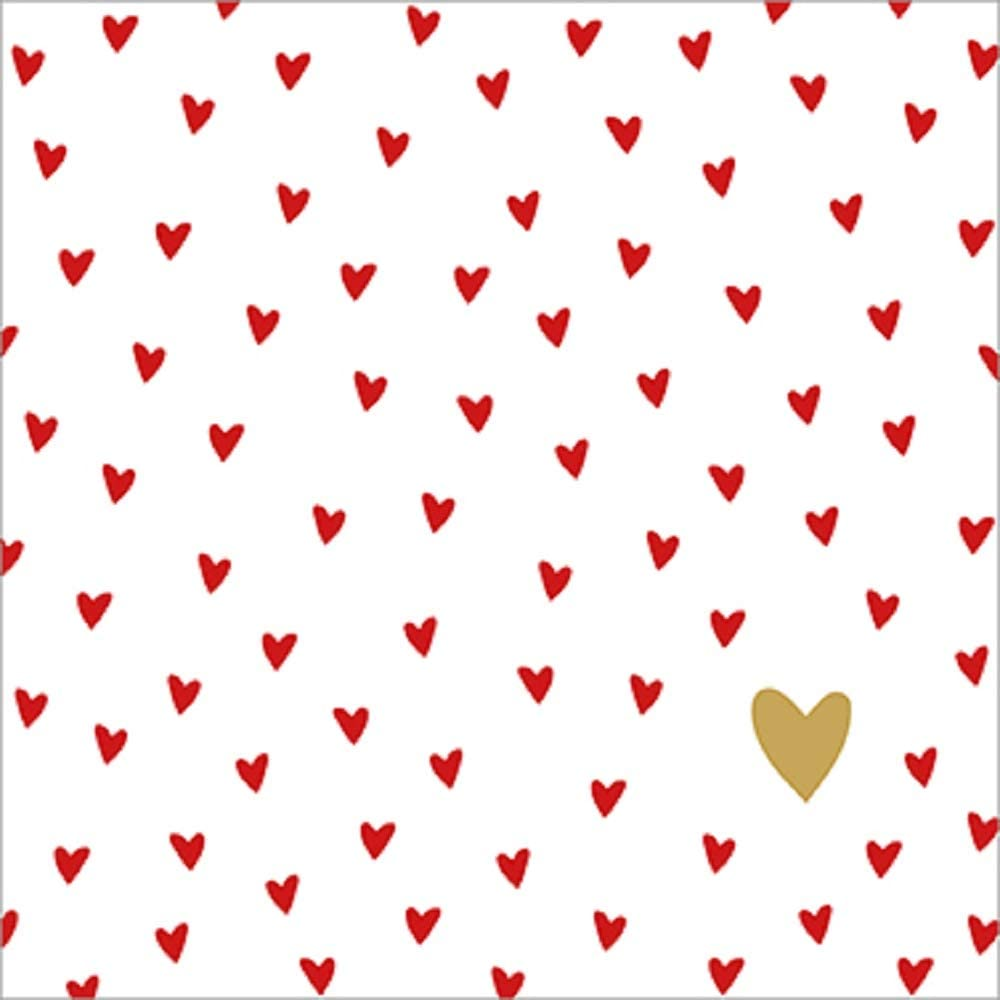 Disposable Paper Napkins 3 Layers Veils 33x33cm Pattern Small Hearts CasaJame Set of 40 2 Packs of 20 Pieces Each