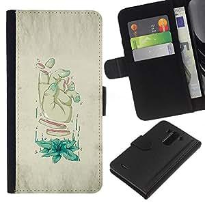 NEECELL GIFT forCITY // Billetera de cuero Caso Cubierta de protección Carcasa / Leather Wallet Case for LG G3 // Rodajas Mano - Arte Weird