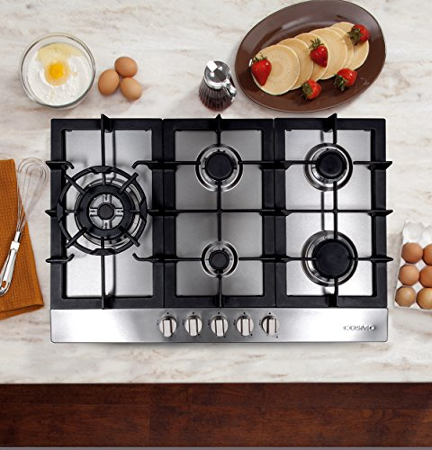 Cosmo 950SLTX-E 34-in Gas Cooktop, 5 Sealed Brass Burners including 16000 BTU Jet Nozzle Burner, Cast Iron Grates, Metal Knobs in Stainless Steel