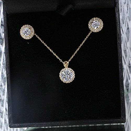 14k Yellow Gold Cubic Zirconia Halo Necklace and Earrings Set - 20'' by Beauniq (Image #1)