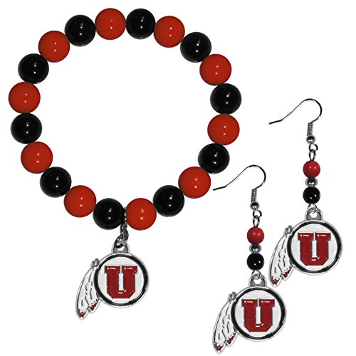 Siskiyou NCAA Utah Utes Fan Bead Earrings & Bracelet Set ()