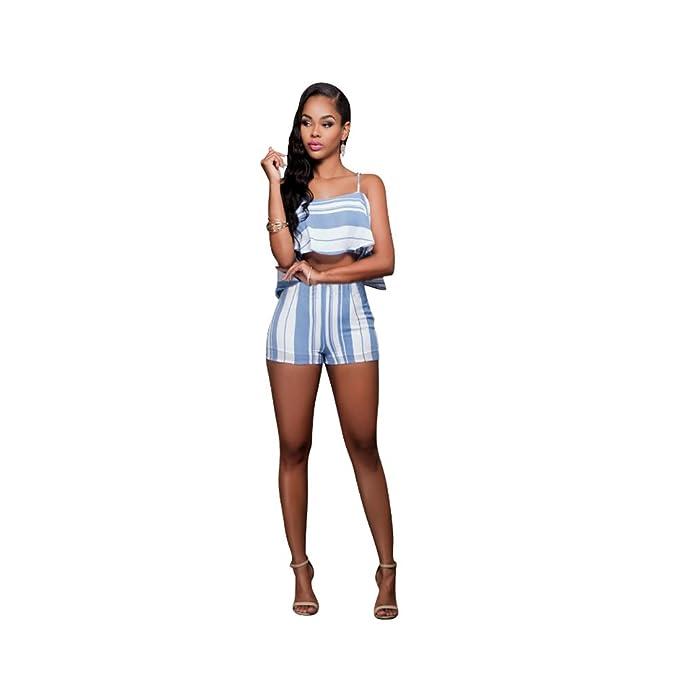 2fe4443da3a Women s Stripes Ruffles Crop 2 Pieces Off Shoulder Crop Top+ Short Pants  Jumpsuits Pantsuits (Small