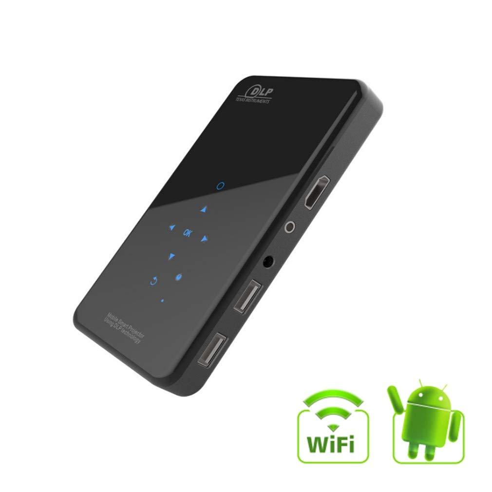 ミニプロジェクター、Androidスマートフォンプ ポータブルホームビデオプロジェクター、デュアルスクリーンWifi、Bluetooth、タッチパネル、DLP、HD、1080 P B07SZ1P2LL