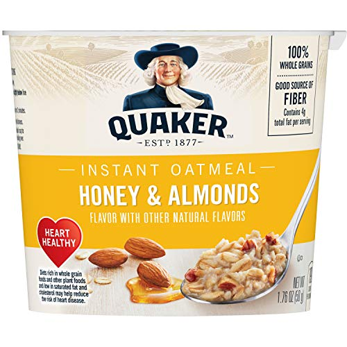 - Quaker Instant Oatmeal Instant Oats Express Cups, Honey & Almonds, Breakfast Cereal, Individual Cups, 1.76 oz Cups (Pack of 12)