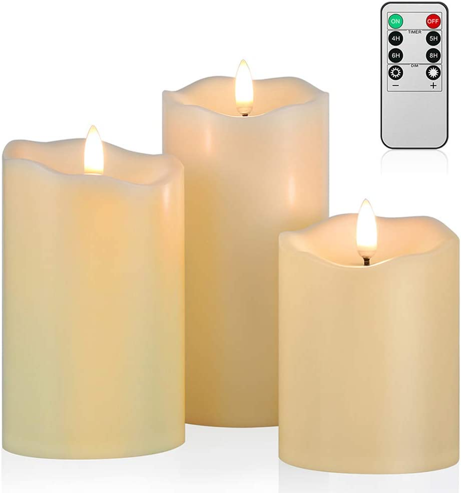 2 Pack of 9 inch Candles w// Brass Color Bases Flickering LED Candles w// Timer