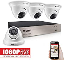 ZOSI CCTV Surveillance Security Camera System 4CH 1080P HD Realtime TVI CCTV DVR Recorder with 4x HD 1920x1080P 2.0MP...