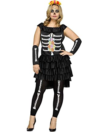 c90de94115c Amazon.com  Fun World Women s Dia De Los Muertos Plus Size Costume ...
