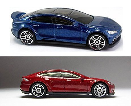 Tesla Model S Hot Wheels #242 HW Green Speed 2016 & Matchbox #7 Red New Casting 2015 in PROTECTIVE CASES