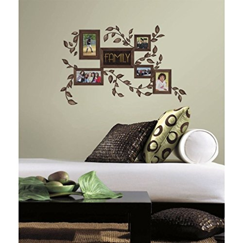 Lunarland FAMILY PHOTO FRAMES 50 BiG Wall Decals Brown Tree Leaves Room Decor Stickers NEW ()