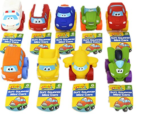 Car Toys Pack of 9 Mini Toy Vehicles Assorted Including Emergency/Fire Engine/School Bus/Police/Racing/Off Road Cars Mini Car Toy for Kids Toddlers Boy for 2 Years Edible Soft Plastic (Pull Back Vehicle)