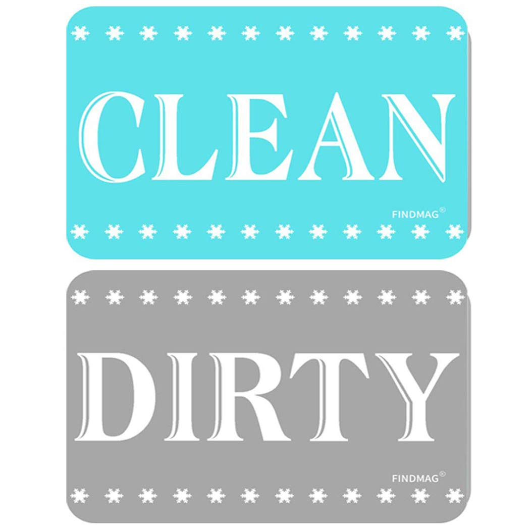 FINDMAG Dishwasher Magnet Clean Dirty Sign, Strongest Magnet Double Sided Flip with Metal Plate - Universal Kitchen Dish Washer Reversible Indicator (Blue-Gray, 1)