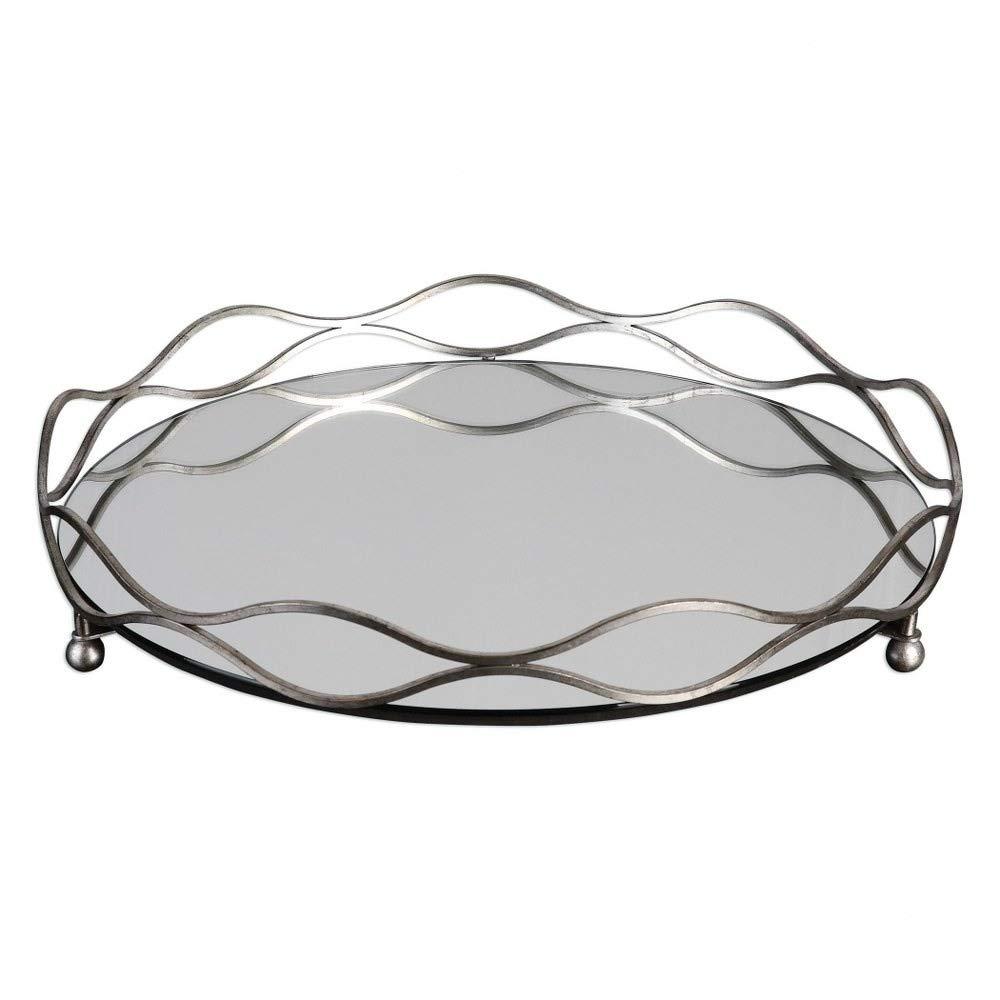 Uttermost 20177 Rachele - 23.5'' Mirrored Silver Tray, Steel/Silver Leaf Finish