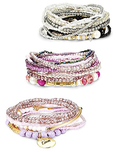 Finrezio 3 Sets Bohemian Beaded Bracelets for Women Multilayer Stretch Stackable Bracelet Set Multicolor Jewelry by Finrezio
