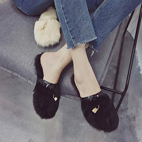 Heel Soft Flat Toe Slippers Plush DANDANJIE Black Closed Fashion Winter Autumn Women's Shoes YZvwf8