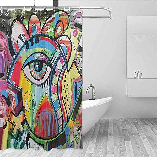 SONGDAYONE Durable Shower Curtain Contemporary Lively Colored Hand Drawn Style Artwork Abstract Composition with an Eye Motif Machine Washable Multicolor W72 xL84