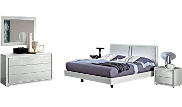 Amazon.com: DAMA Bianca Modern King Bedroom Set in White High Gloss ...