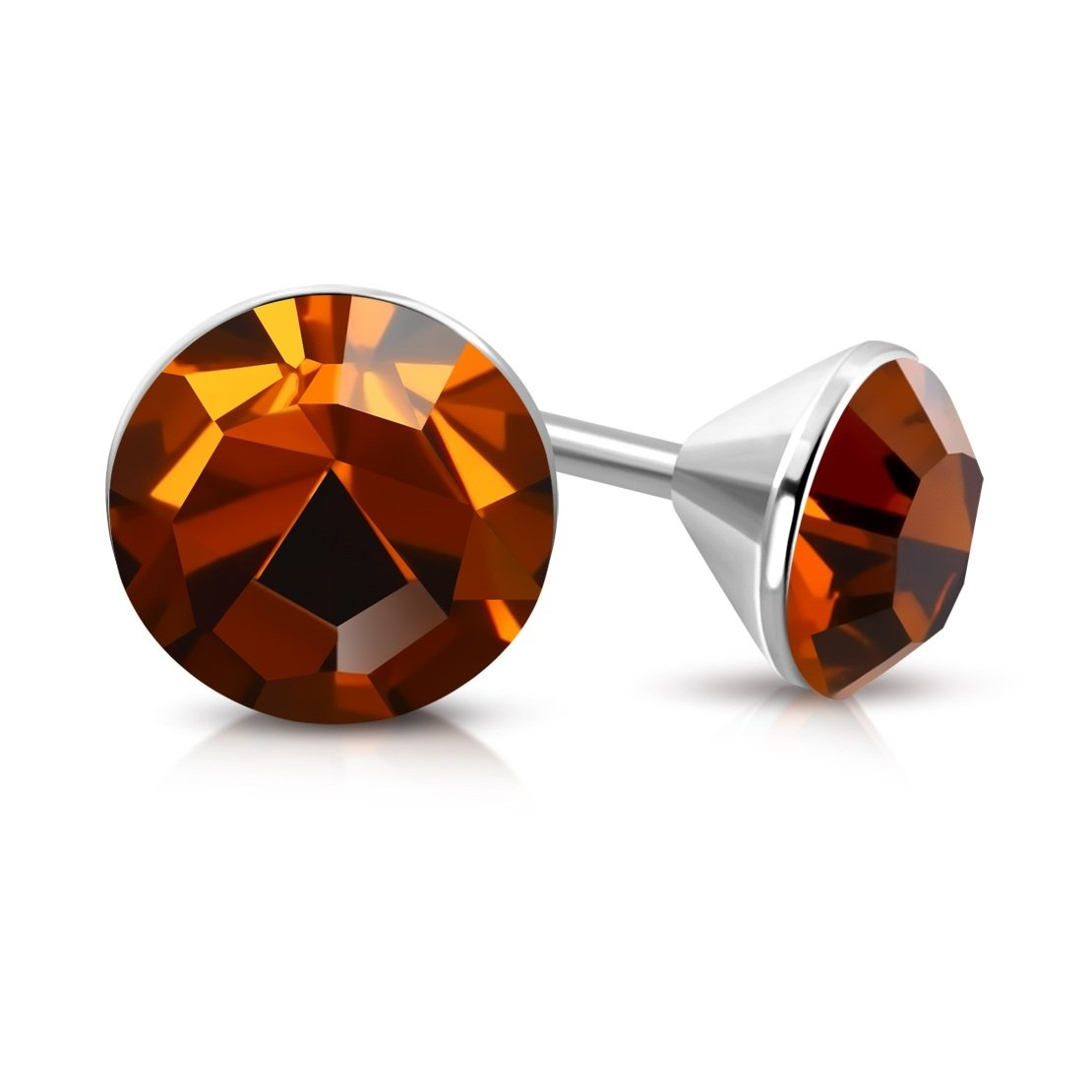 pair Stainless Steel Bezel-Set Round Circle Stud Earrings with Smoked Topaz Stellux Crystals