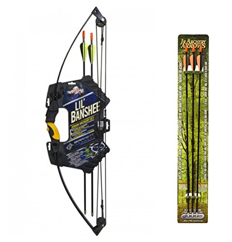 - Barnett Outdoors Lil Banshee Jr. Compound Youth Archery Set + Barnett Outdoors Junior Archery 28-Inch Arrows (3 Pack)