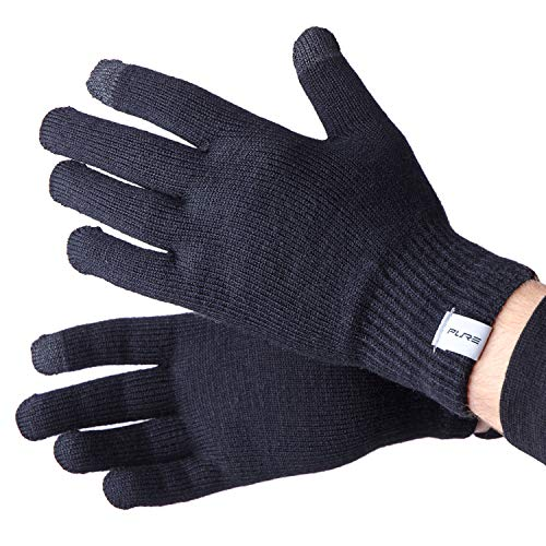 (Wool Ski Glove Liner with Touch Screen Technology - Premium Merino Wool Winter Gloves for Skiing, Cold Weather (S, Black) )