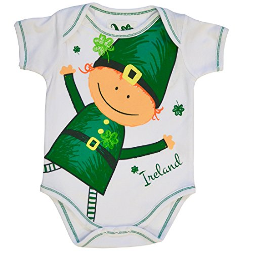 Traditional Craft White Waving Leprechaun & Shamrock Baby