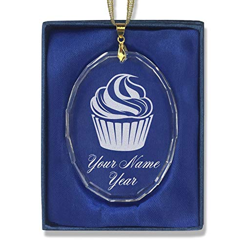 SkunkWerkz Christmas Ornament, Cup Cake, Personalized Engraving Included (Oval Shape)