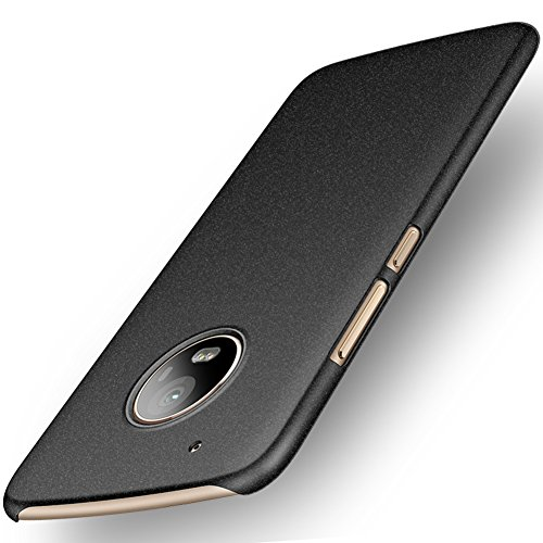 ORNARTO Moto G5 Plus Case,G5+ [Basic Series] Thin Fit Shell Premium Hard Plastic Matte Finish Non Slip Full Protective Anti-Scratch Cover Cases for Moto G5 Plus(2017) Black
