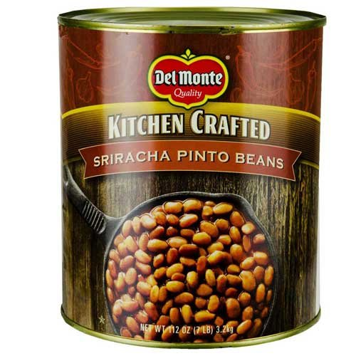Del Monte Kitchen Crafted Sriracha Pinto Beans, 112 Ounce Can - 6 per case.