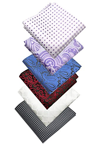 LACS-Mens-Classic-Poly-Silky-Pocket-Square-2525cm-Hankies-Pack