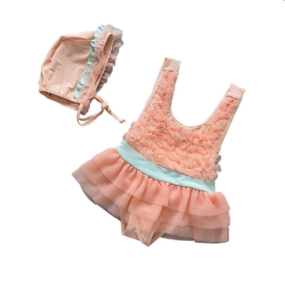 Yunqir Kids Wetsuit 2 Pcs/Set Children's One Piece Swimsuits Kids Lace Mesh Sunscreen Wetsuit for Water Sports(Orange)