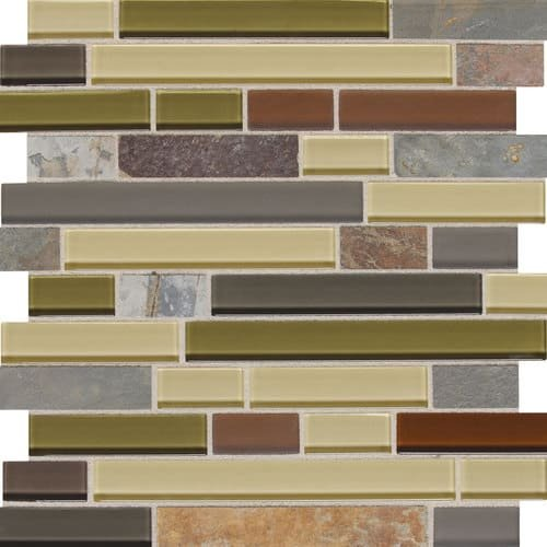 Daltile Slate Radiance Cactus 11-3/4 in. x 12-1/2 in. x 8 mm Glass and Stone Random Mosaic Blend Wall Tile