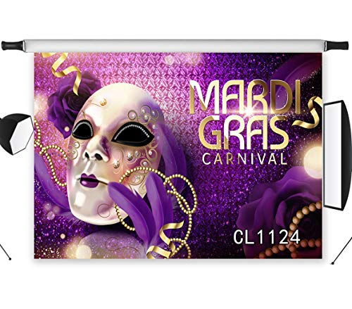 LB Mask Backdrop for Photography 9x6ft Mardi Gras Carnival Party Background Banner Masquerade Purple Photo Backdrop Photo Booth Studio Props Vinyl Customized -