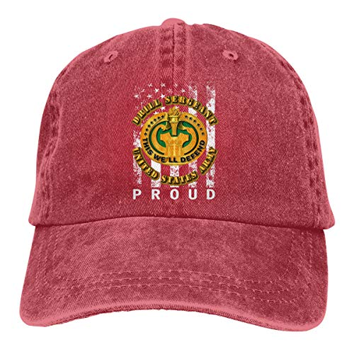 MOSOSOCA Army Drill Sergeant Unisex Washed Retro Proud American Adjustable Baseball Cap Dad Hat Red