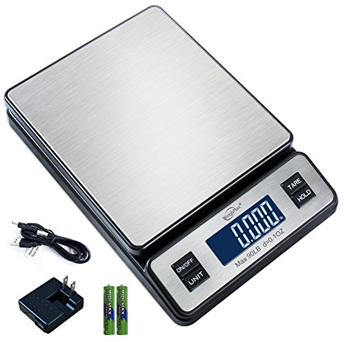 Weighmax W-2809 90 LB X 0.1 OZ Durable Stainless Steel Digital Postal Scale, Shipping Scale With AC adapter ()