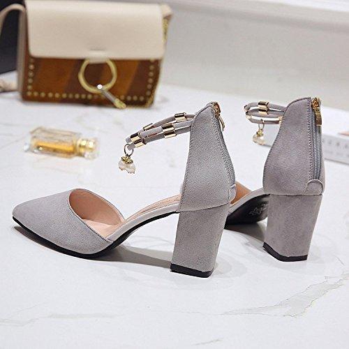 RUGAI-UE señoras forman los zapatos de tacón alto con sandalias femeninas, cremalleras puntiagudas afiladas de verano, tacones de ante de moda. gray