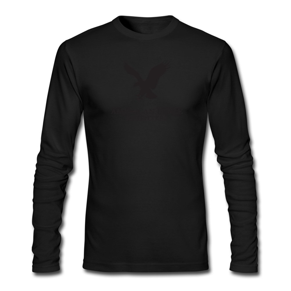d3f306a8 Amazon.com: American Eagle Outfitters Logo for Men Printed Long Sleeve  Cotton T-Shirt: Clothing