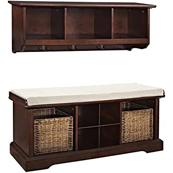 Superbe Crosley Furniture Brennan Entryway Storage Bench And Hanging Shelf Set    Vintage Mahogany
