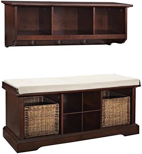 Crosley Furniture Brennan Entryway Storage Bench and Hanging Shelf Set - Vintage Mahogany