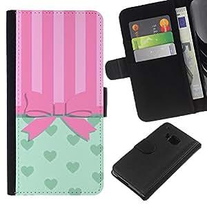 KLONGSHOP // Tirón de la caja Cartera de cuero con ranuras para tarjetas - Arqueamiento Pink Hearts Líneas - HTC One M9 //