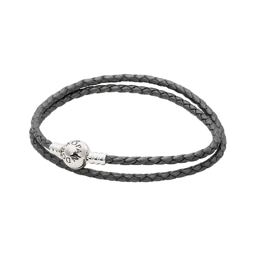 Pandora Moments Silver Grey Leather Silver Charm Bracelet 590745CSGD3