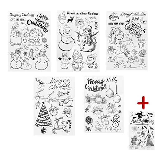 Mimgo 1 Set / 5 Pcs Christmas Series Transparent Silicone Clear Stamps with 1 Pcs Halloween Stamp for Scrapbooking DIY Paper Card Gift -