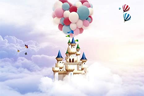 AOFOTO 10x7ft Wonderland Castle Backdrop Misty Sky Hot Air Balloons Heaven Photography Background Wallpaper Curtain Birthday