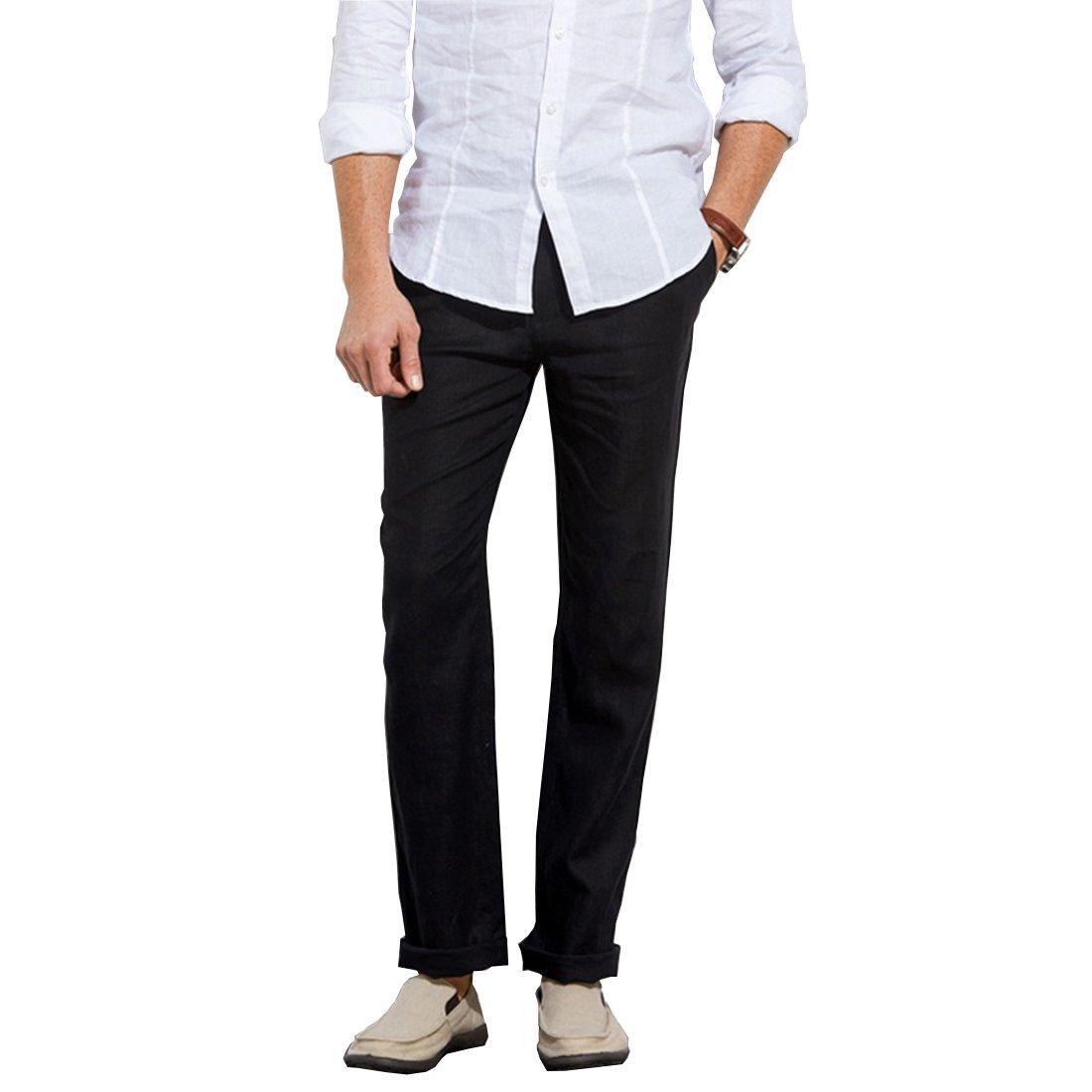 Manwan walk Men's Casual Beach Trousers Elastic Loose Fit Lightweight Linen Summer Pants K70 (Small, Black)
