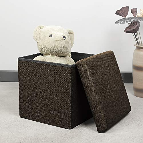 126dbe04a217 B FSOBEIIALEO Storage Ottoman Cube, Linen Small Coffee Table, Foot Rest  Stool Seat, Folding Toys Chest Collapsible for Kids Brown 11.8