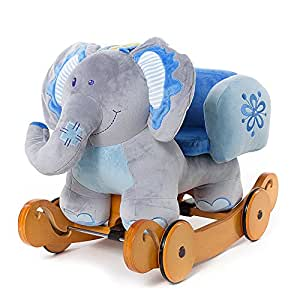 Labebe Modern Plush Rocking Horse for Little Toddlers Kids Baby Boys & Girls (6-36 Months), Indoor Rocking Animal/Ride-On Toys/Rockers with Wheels and Sound Paper - Cute Stuffed Blue Elephant