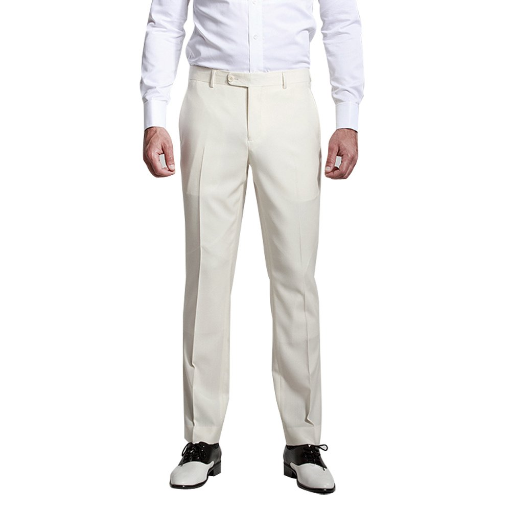HBDesign Mens Formal Flat Front Straight Iron Free Trousers Milk White HMP5054CW