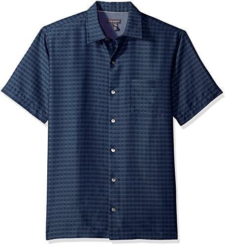 Van Heusen Men's Printed Rayon Short Sleeve Shirt, Deep Blue Infinity, X-Large from Van Heusen