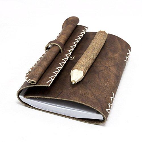 OMAICA Handmade Leather Journal Soft Texture Vintage Look Genuine Leather Refillable for Men and Women Bonus Handmade Leather (Locked Diary For Girls Monogram)